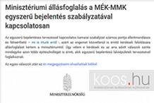 éptár - Minisztériumi állásfoglalás a MÉK-MMK egyszerű bejelentés szabályzatával kapcsolatosan